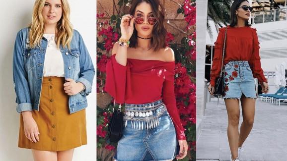Inspire-se para criar looks com saia jeans